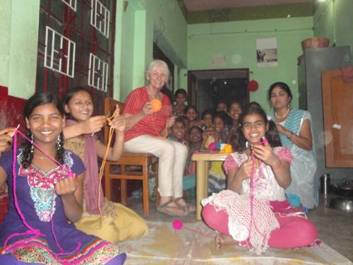 2015: Teaching the Bridge Course girls to crochet